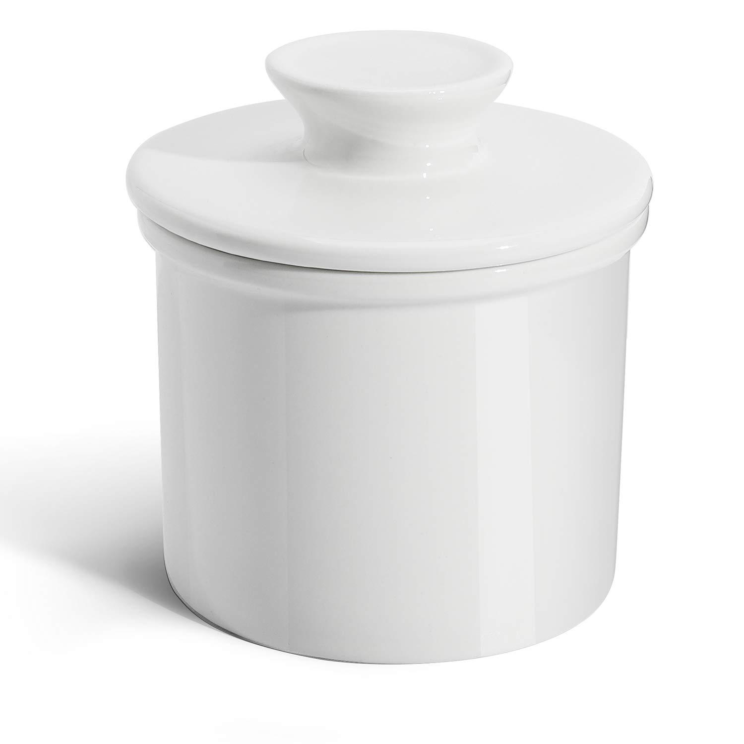 Sweese 3110 Porcelain Butter Keeper Crock - French Butter Dish - No More Hard Butter - Perfect Spreadable Consistency, White