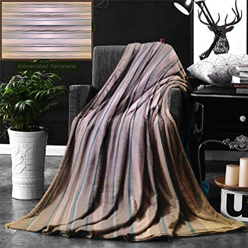 Unique Custom Digital Print Flannel Blankets Modern Decor Earth Toned Fractured Zig Zag Dimensions Horizontal Lined Flat Type Artwo Super Soft Blanketry for Bed Couch, Twin Size 70 x 60 Inches