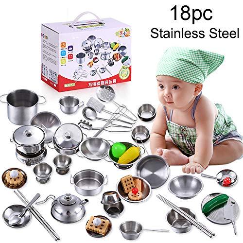 Price comparison product image LtrottedJ 18 Pcs Set Kids Play House Kitchen Toys Cookware Cooking Utensils Pots Pans Gift (B)