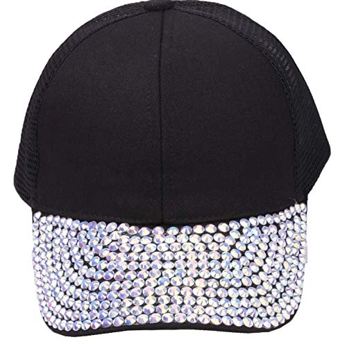Daliuing Women Fashion Baseball Cap Studded Rhinestone Adjustable Outdoor Sport Hat (White)