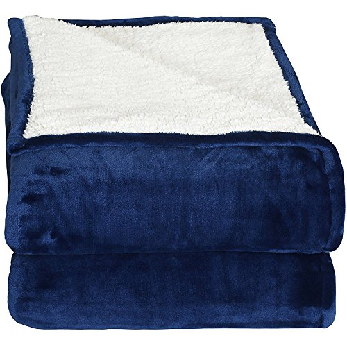 Utopia Bedding Sherpa Flannel Fleece Reversible Blankets (Navy, Throw) – Extra Soft Brush Fabric – Super Warm, Lightweight Bed/Couch Blanket – Easy - Flannel Warm