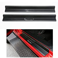 Nicebee One set of 2 pcs Aluminum alloy Door Sill Protector Scuff Plate Entry Guards For 2007-2015 Jeep Wrangler JK 2 Door Black