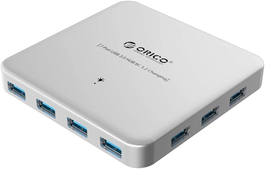 PC//USB Hubs U3BCH7 ABS 7 Ports USB3.0 HUB Splitter for Smartphones//Laptops Color : Silver