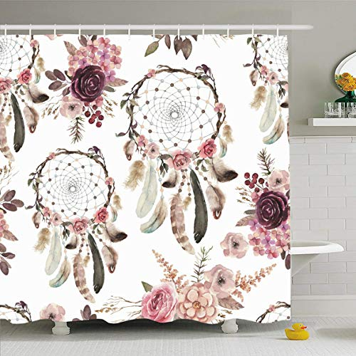 (Ahawoso Shower Curtain 60x72 Inches Bouquet Pink Aztec Watercolor Ethnic Boho Floral Pattern Painting Abstract American Branch Design Waterproof Polyester Fabric Bathroom Curtains Set with Hooks)