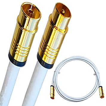 15m Antennenkabel Anschlusskabel Koaxial 135dB 5-fach Kupfer IEC Stecker Buchse