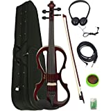 Barcelona 4/4-Size Electric Violin - Violinburst Bundle with Case, Bow, Rosin, Headphones, Cable, and Battery Sunburst