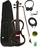 Barcelona 4/4-Size Electric Violin - Violinburst Bundle with Case, Bow, Rosin, Headphones, Cable, Battery