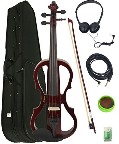 Barcelona 4/4-Size Electric Violin - Violinburst Bundle with Case, Bow, Rosin, Headphones, Cable, and Battery Sunburst
