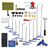 Furuix 62pcs PDR Kits Tool for Hail and Door Ding Repair with PDR Rods Glue Gun Pulling Tabs Mini Dent Lifter PDR Tools Dent Puller