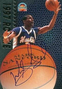 Mark Sanford autographed Basketball Card (Washington) 1997 Score Board Rookie - Autographed College Cards