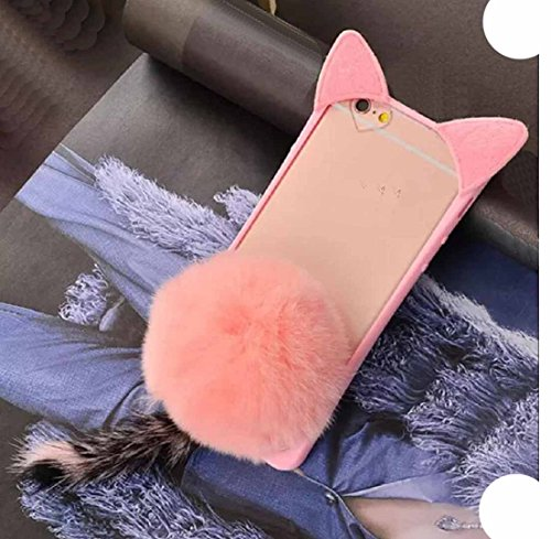Huawei GT3/Honor5C/Honor 7Lite/GR5 Mini Case, Very Light Slim Fluffy Cat Ear Tail + Warm Villi Cute Hair Ball Clear Back Cover, WEIFA Newest Super Charming Luxury CellPhone Case For Huawei GT3 Pink