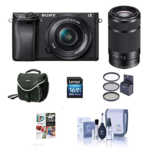Sony Alpha A6000 Mirrorless Digital Camera with 16-50mm f/3.5-5.6 OSS and 55-210mm f/4.5-6.3 OSS Lenses, Black – Bundle…