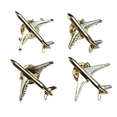 Collectible Airplane Lapel Pin Set of Four: Airbus A321, A330, A340 and Boeing 777 by Goldenflower (Flash Rubber Wig)