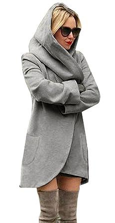 code promo b8e52 adfa3 Bigood Veste à Capuche Femme Feutre Manteau Automne Hiver Manche Longue  Blouson Mode