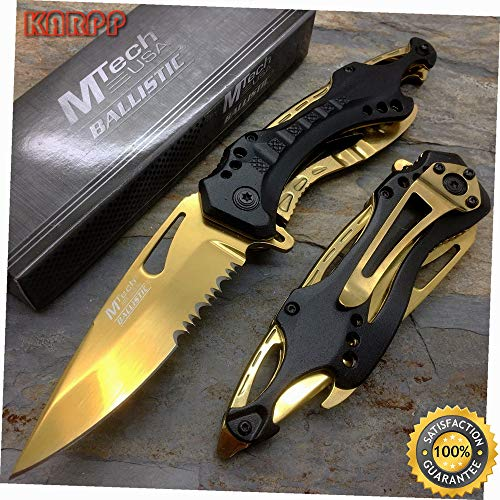 (Spring Assisted Gold Blade TI-Coated Aluminum Tactical Pocket Knife - Outdoor Camping perfect For Hunting EDC)