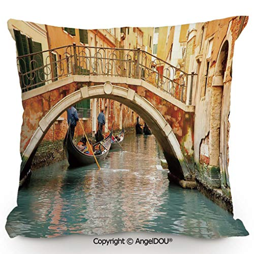 (AngelDOU Throw Pillow Cotton Linen Pillow Cover and Inserts 17.7x17.7 Inch Ancient Bridge and Traditional Gondola Canals of Famous Touristic City Modern Home Office Sofa Bed Nice Decor.Orange Ivory B)