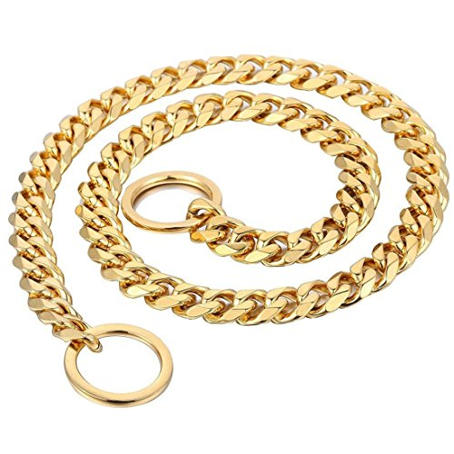 Picture of 15mm Heavy Duty Gold Tone Stainless Steel Metal Pet Dog Choke Chain Collar Necklace 24 inch for Pit Bull, Mastiff, Bulldog, Big Breeds (for Dog's Neck 20'')