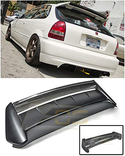 (Extreme Online Store Replacement for 1996-2000 Honda Civic 3Dr Hatchback | EOS Seeker V2 Style Carbon Fiber Rear Roof Lip Wing with Primer Black Type-R Base Spoiler)