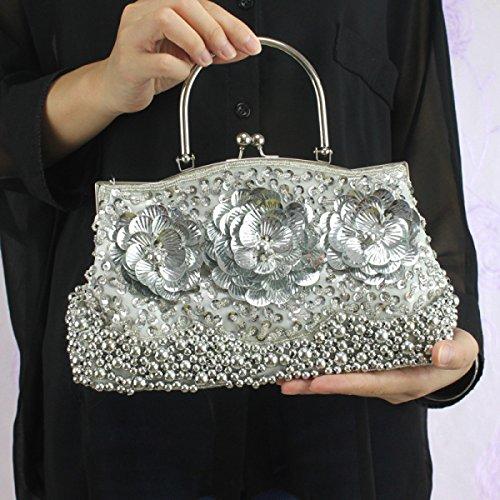 Señoras Clásico Retro Celebración Mencionar Moda Bolso De Noche Novia Vestido Cheongsam Bolsa Bordado Cuentas Silver