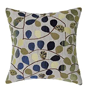"""Euphoria Home Decorative Cushion Cover Throw Pillow Case Shell Luxury Chenille Cute Leaves Ecru Blue Color 18"""" X 18"""" Reversible by Qingdao Ray Trading Co., Ltd."""