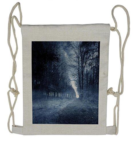 Lunarable Halloween Drawstring Backpack, Ghostly Haunted Forest, Sackpack Bag