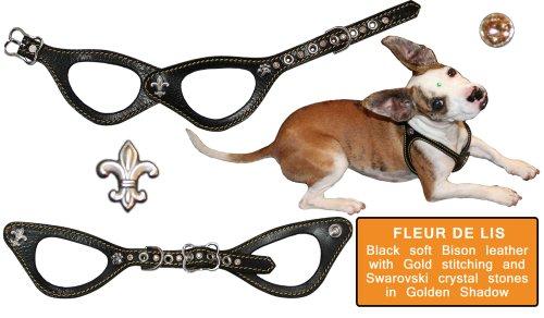 "Pet Flys ""Fleur De Lis"" Bucky Belt: Black Bison Leather H..."