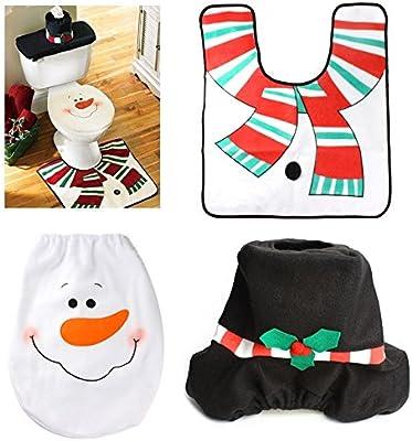 Cubierta de asiento de tocador de Santa Claus mu/ñeco de nieve Home y alfombra para ba/ño Set de adornos de Navidad de 3