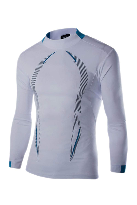 Jomuhoy Men Swimwear Long Sleeve Protection Quick-Dry Rash-Guard-Shirt