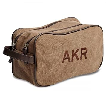 0d5de75cb5bd Lillian Vernon Personalized Monogrammed Cotton Canvas Toiletry Bag -  11 quot  x 6 quot  x 4 quot