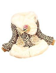 Cute Baby Kids Toddler Girls Faux Fur Fleece Winter Warm Jacket Coat Outwear - leopard 10