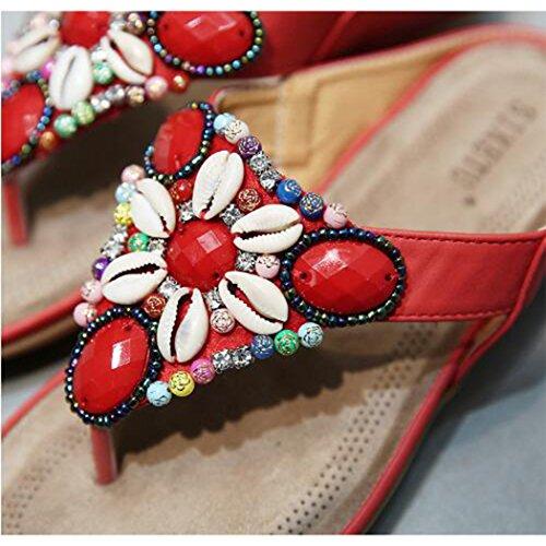 Rosado Colores Speedeve Y De Sandalias Cuentas Verano Conchas Zapatos Mujer Con 6vqzw6C