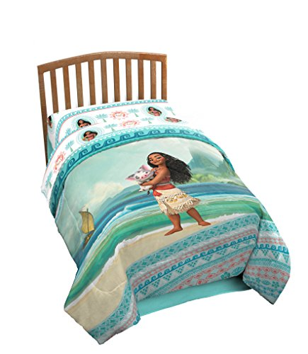 Disney Moana The Wave Twin Comforter - Super Soft Kids Reversible Bedding features Moana - Fade Resistant Polyester Microfiber Fill (Official Disney Product)