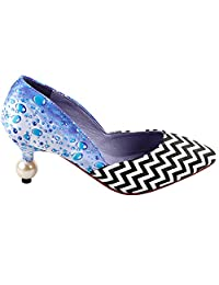 Show Story Women's Wave Raindrop Print Pointed Toe Exquisite Pearl Heel Dress Pump,LF60404
