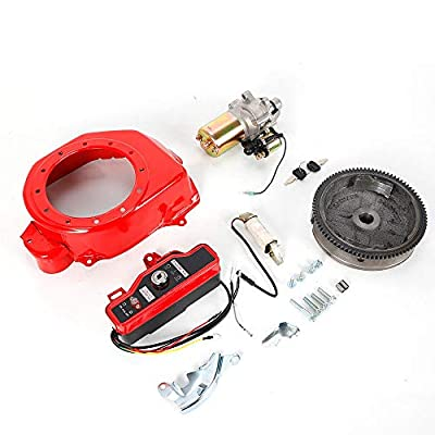 HYYKJ Electric Start Kit Fit for Honda GX160 5.5HP GX200 6.5HP Starter Motor with Solenoid FlyWheel Switch Charging Coil Ignition Fan Cover: Automotive