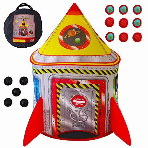 Playz 5-in-1 Rocket Ship Play Tent for Kids with Dart Board, Tic Tac Toe, Maze Game, & Immersive Floor - Indoor & Outdoor Popup Playhouse Set for Toddler, Baby, & Children Birthday Gifts (Outdoor Playhouse Indoor)