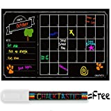 ChalkTastic Chalkboard Wall Calendar - Large Monthly Dry Erase Decal Wall Calendar - 32 x 16in Agenda Planner for Home Office Business Kitchen - Personal Organizer with FREE White Chalk Marker