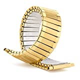 Speidel Men's Stainless Steel Comfortable Stretch Watch Band Gold Tone Tone Replacement Strap , 16-22mm, Curved End with No Clasp, Long