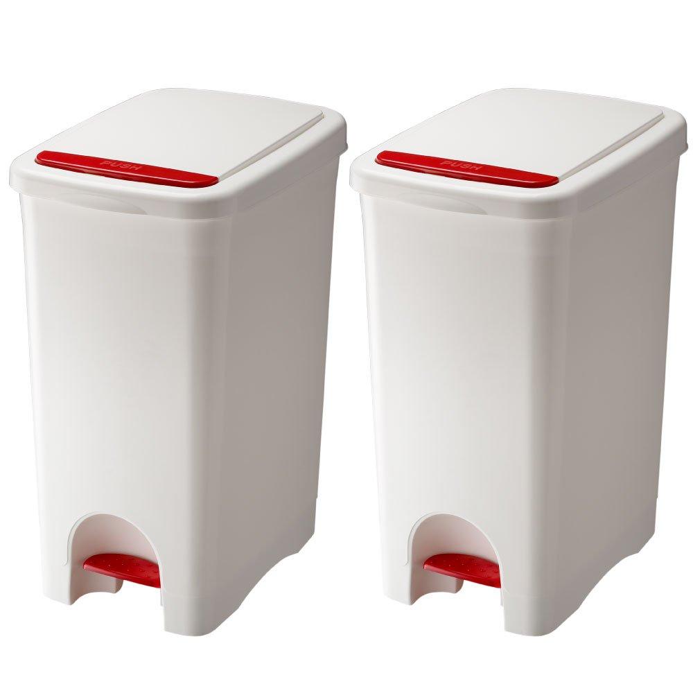 RISU リス URBANO アルバーノ プッシュペダルペール 45L 2個セット ゴミ箱 ごみ箱 ダストボックス (ホワイト×ホワイト) B01HV0G6NQ ホワイト×ホワイト ホワイト×ホワイト