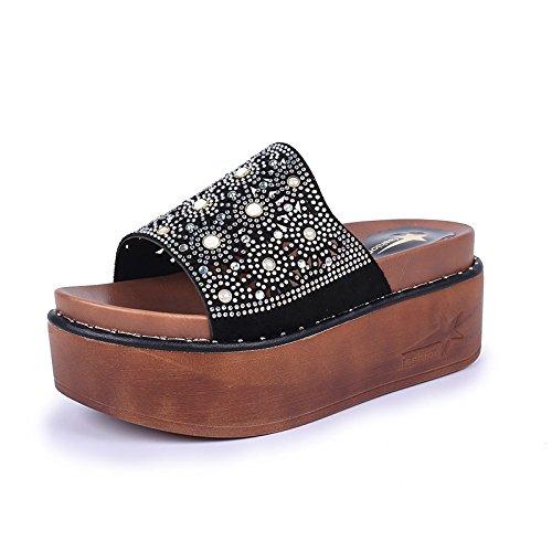 D'Été Plage femme Plage black Chaussons De Et Fashion WHLShoes Glisser Divertissement Sequins Femme Faites Loisirs 0axqRvxw