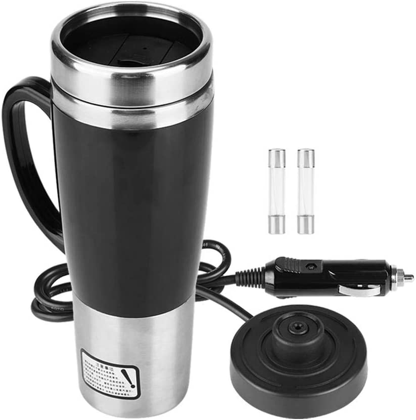450ml Stainless Steel Electric Car Cup Travel Heating Mug, Keenso Electric Kettles Boiling Car Coffee Mug Heater with Cigarette Lighter(12V)