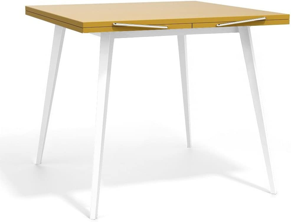 Mesa cuadrada moderna extensible. Estructura blanca con plano de ...