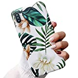 ooooops iPhone Xs Case for Girls, Green Leaves with White & Brown Flowers Pattern Design, Slim Fit Clear Bumper Soft TPU Full-Body Protective Cover Case for iPhone X/XS 5.8'' (Leaves & Flowers)