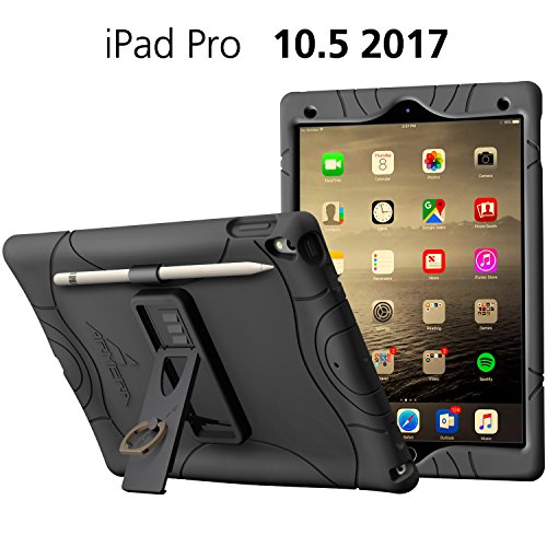 Armera iPad Pro 10.5 Rugged Case Cover with Pencil Holder, built-in Stand and Finger Ring, Heavy Duty Kids Safe Protection Silicone Cover for Apple iPad Pro 10.5 (2017) (Black)