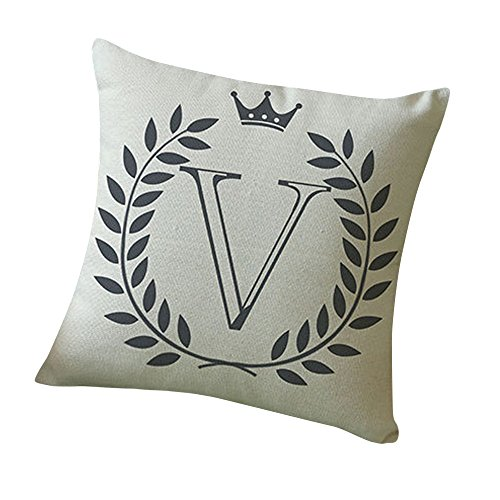 WensLTD Clearance! Letters Pattern Cotton Linen Cushion Cover Throw Pillow Case Sofa Home Decor (V) ()