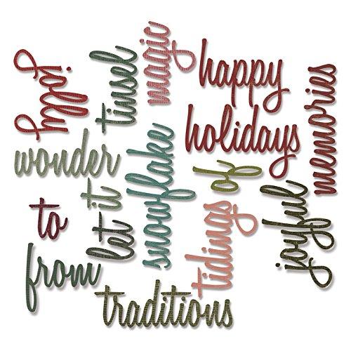 Sizzix 660977 Thinlits Dies, Holiday Words 2: Script by Tim Holtz Ellison