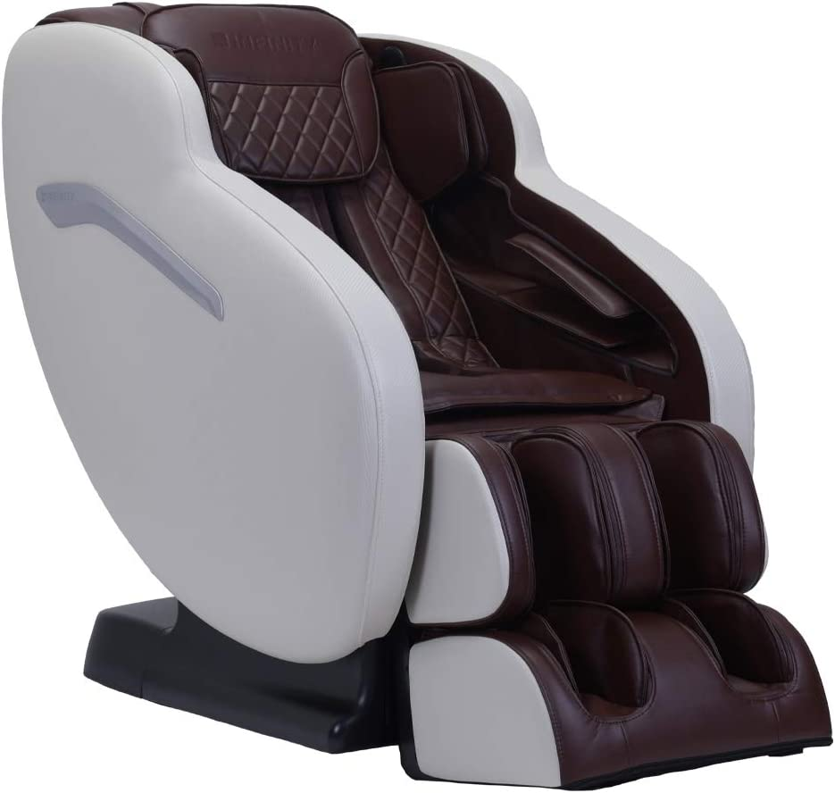 Infinity Aura Full Body Zero Gravity Massage Chair, Air Compression, Space Saving Technology, Lumbar Heat, Decompression Stretch- Cream/Brown, Includes in Home delivery and Assembly