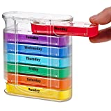 MEDca Weekly Pill Organizer, Twice-a-Day, 1 Dispenser with Stackable AM/PM Compartments