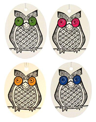 Set of Four Owl Print Air Fresheners, Assorted, Eucalyptus Spearmint (Assorted Spearmint)