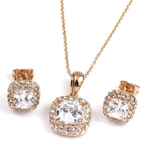 FC Rose Gold GP Princess Swarovski Crystal Element CZ Square Necklace Earring Studs Jewelry Set