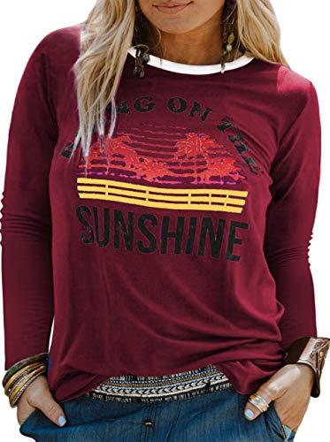 YASAKO Plus Size Women Tops Long Sleeve T Shirts Casual Tee Shirts Cute Graphic Tunic, Wine Red, 5X-Large